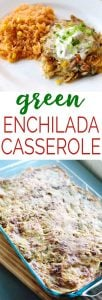 Easy, cheesy Green Enchilada Casserole is a delicious family friendly weeknight dinner recipe!