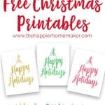 Free Christmas printables with a lot of color options to update your holiday decor for free! Pretty hand-lettered script holiday printables!