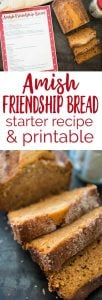 Amish Friendship Bread is the perfect recipe to share with friends. Now you can make your own with this starter recipe along with a free printable for gifting starter to others!