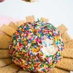 sprinkle covered dessert cheeseball with graham crackers