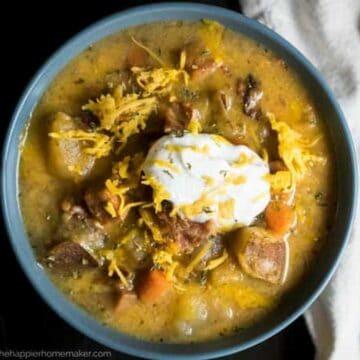 bowl of ham potato cheesy soup