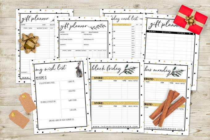 holiday planner sheets on wood table