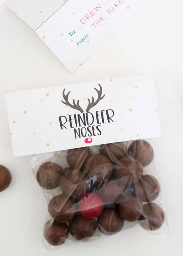 Free reindeer nose printable gift tags are an easy DIY Christmas gift that kids especially will love! #DIYgift #christmasgift #freeprintable #printablegifttag #Homemadegift