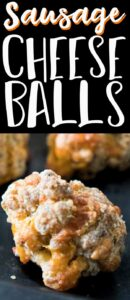 sausage cheese balls on baking sheet with text