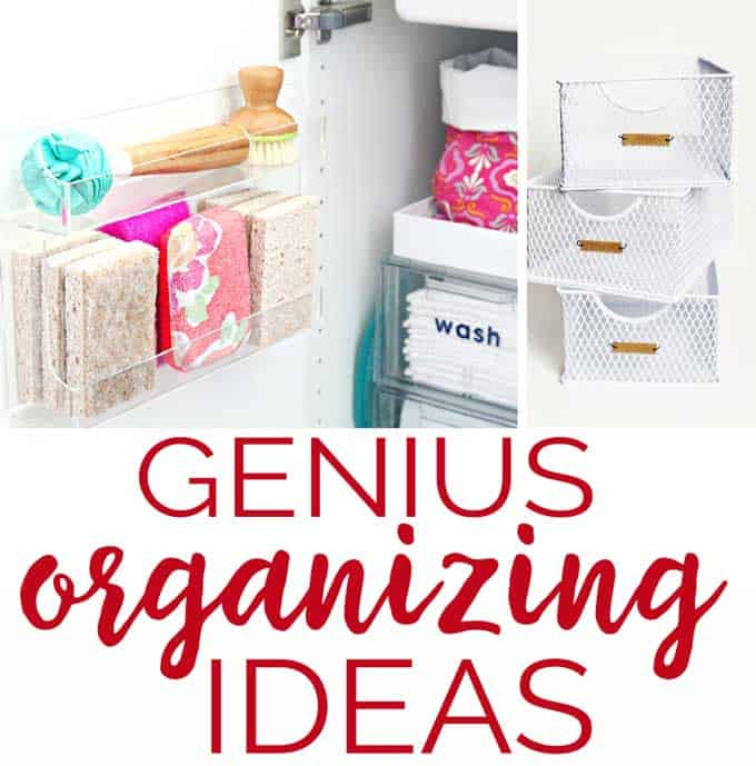 A collage of organizing methods for bathrooms and home, office space