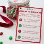 A close up of the M&M meaning of Christmas card