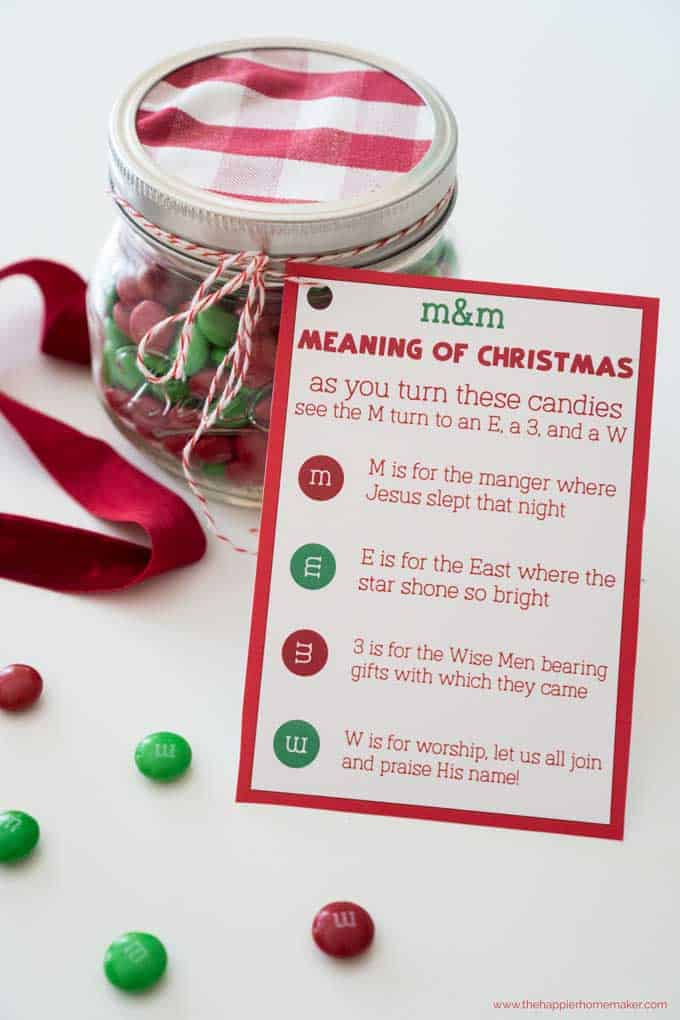"Keep the ""reason for the season"" in mind with this printable M&M Christmas poem for gifting. Poem depicts Jesus's birth and celebrates the true meaning of Christmas!"
