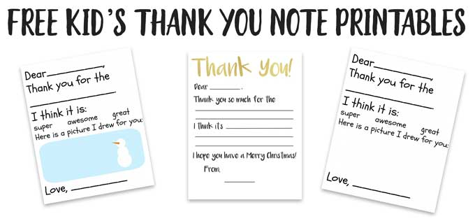 image regarding Printable Note known as Little ones Thank Your self Card Printable The Happier Homemaker