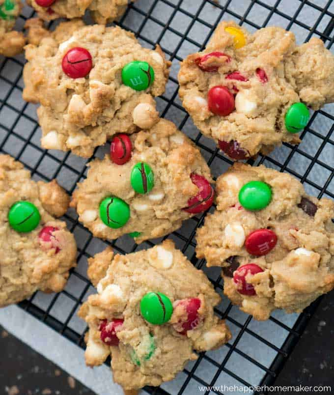 Chocolate chip cookies with green and red M&Ms