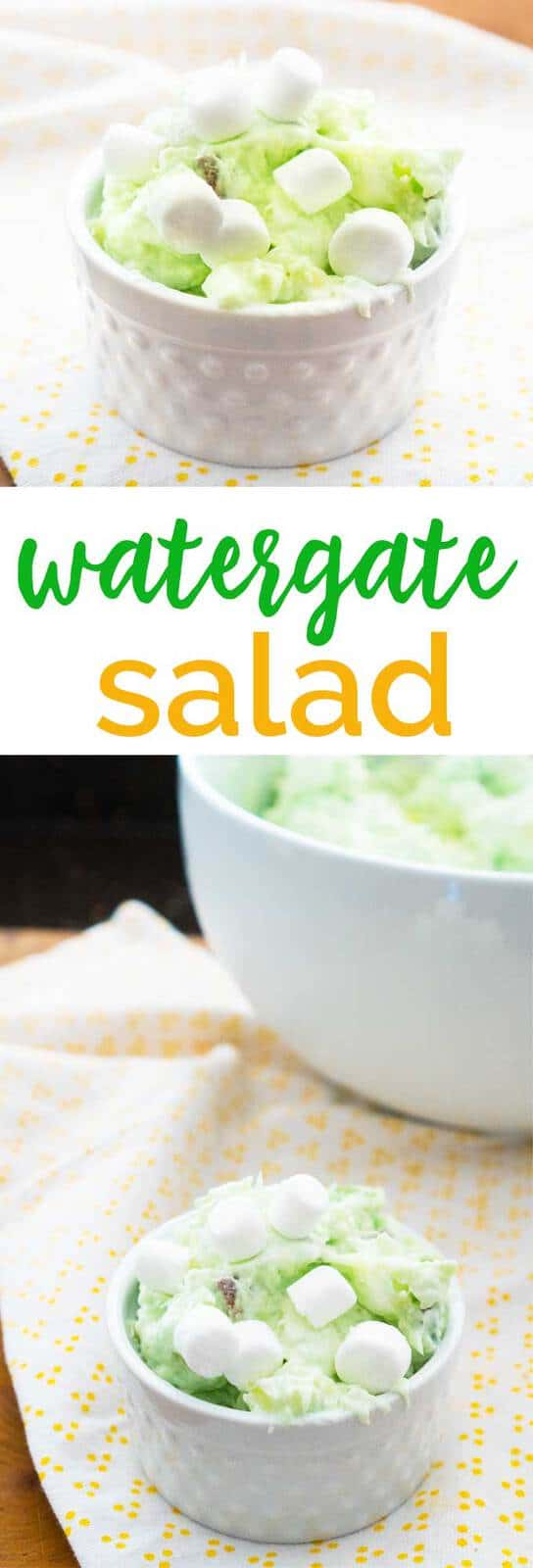 Watergate Salad is a 1970s era dessert with pistachio pudding, whipped cream, marshmallows, pineapple, and pecans and while it sounds like a crazy mix, it's absolutely delicious! #recipes #dessert