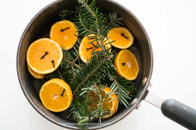 A pan of halved oranges with cloves and pine sprigs