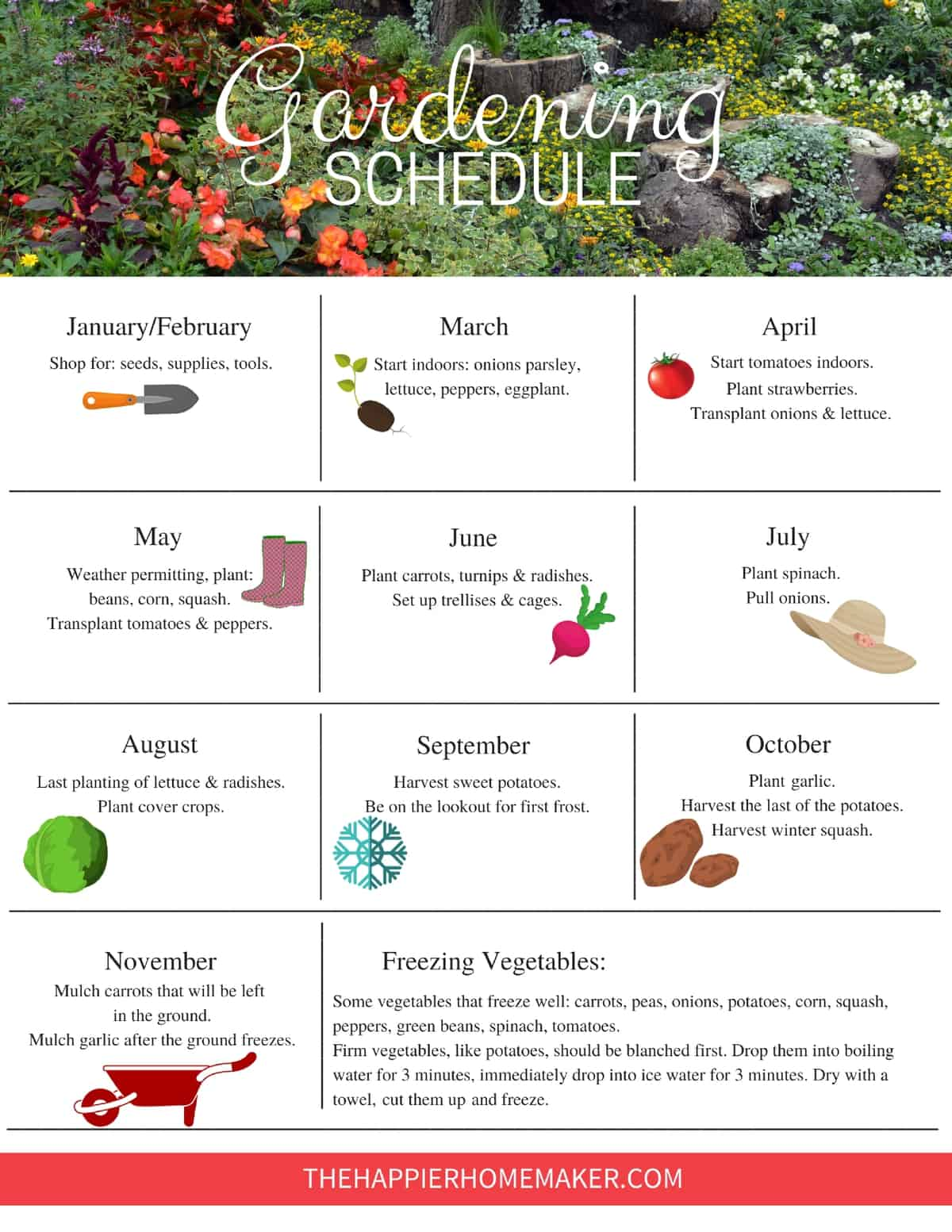 Free printable Garden Schedule to help you plan your gardening tasks throughout the year. #gardening
