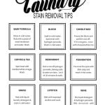 Printable Laundry Stain Removal Guide - how to remove common stains from your laundry