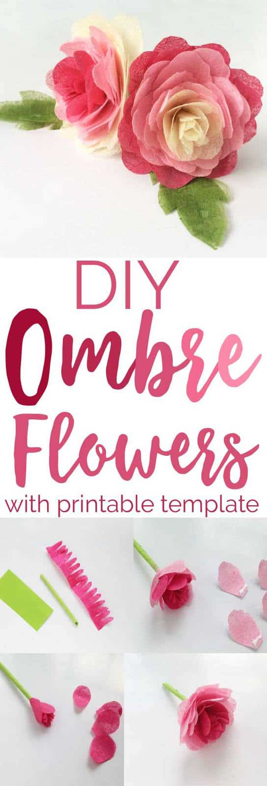 This gorgeous DIY Ombre Tissue Paper Rose tutorial is perfect for adding to your home decor, could decorate a picture frame or wreath or even a garland!