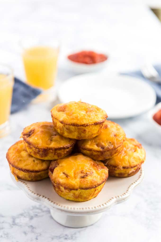 bacon cheese egg muffins on plate