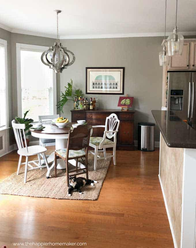 eat in kitchen makeover with new paint and lighting, updating an late 90s home.