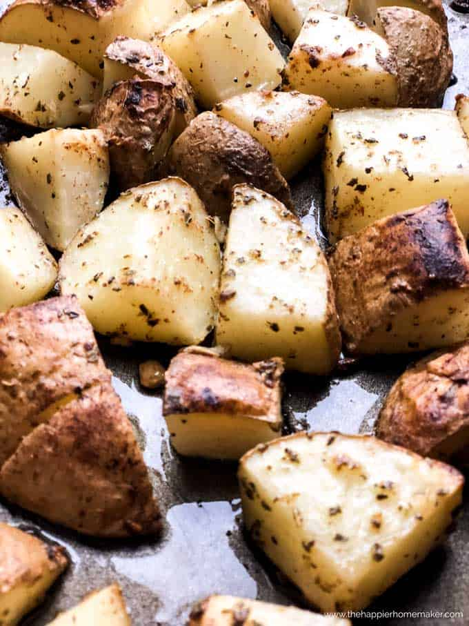 close up of diced roasted potatoes
