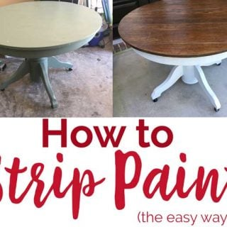 collage of round table before and after stripping paint with text reading how to strip paint the easy way