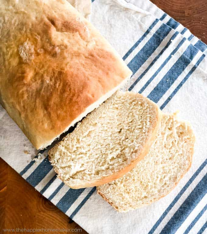 easy homemade white bread on tea towel