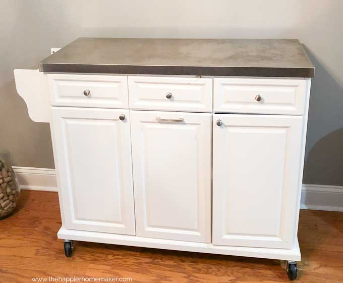 white rolling kitchen island with silver top