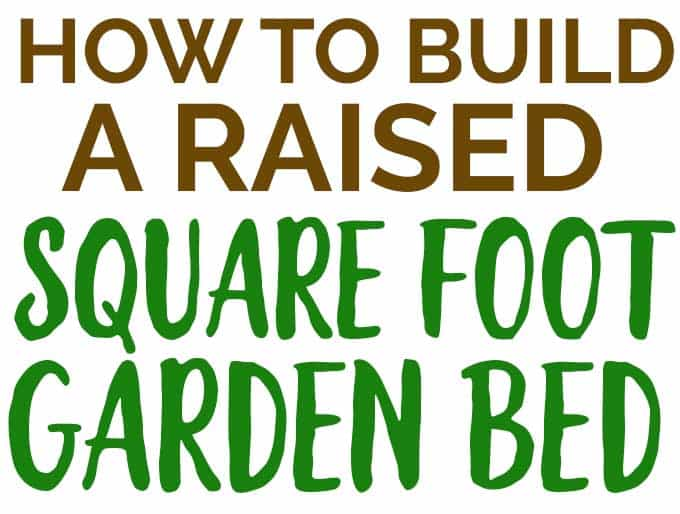 text in brown and green reading how to build a raised square foot garden bed