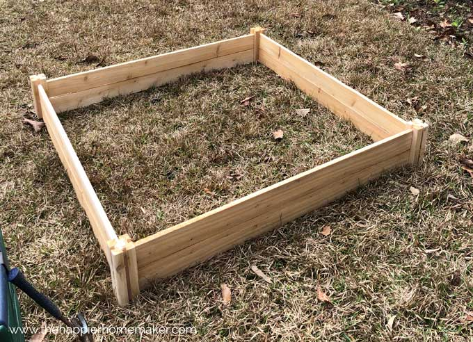 raised wooden garden bed in grass before filling with dirt