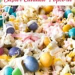 candied popcorn with M&Ms