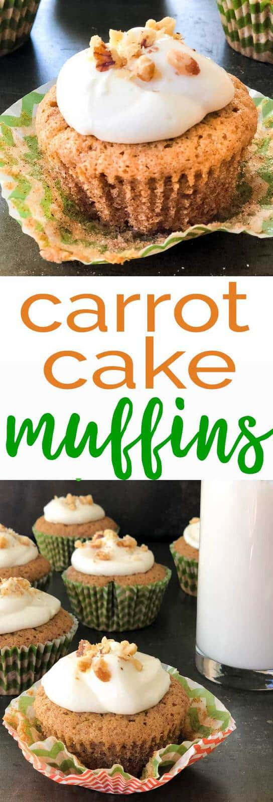Springtime favorite carrot cake in muffin form! Perfectly spiced carrot cake with a creamy, delicious cream cheese frosting. Perfect for Easter breakfast.