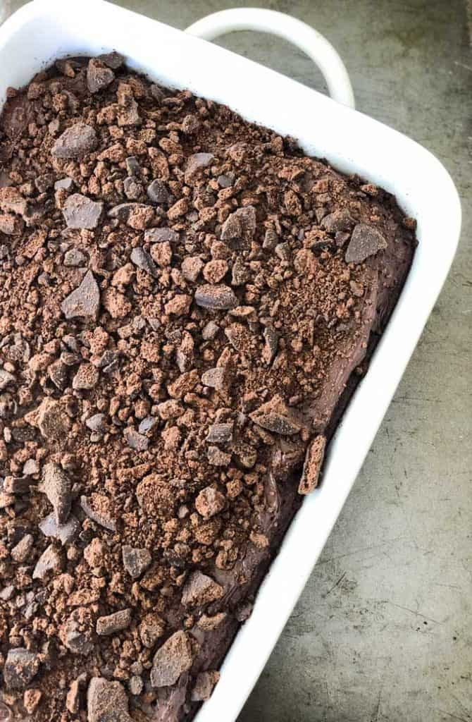 overhead view of thin mint brownies in white casserole dish