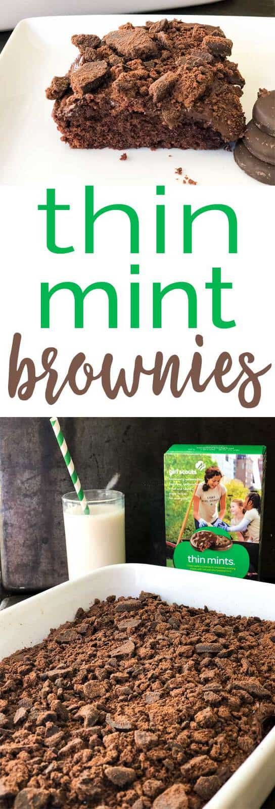 Homemade chocolate brownies topped with chocolate frosting and Thin Mint Girl Scout cookies. #recipe #chocolate