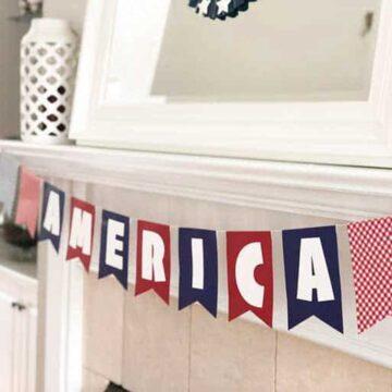 America banner on mantel