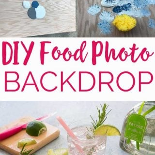 collage of diy food photo backdrop showing steps and and result