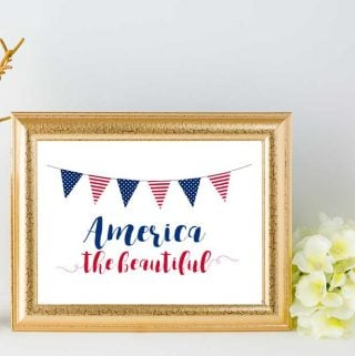 America the beautiful printable in gold frame