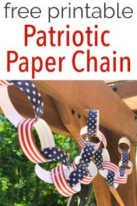 DIY red white and blue patriotic printable paper chain