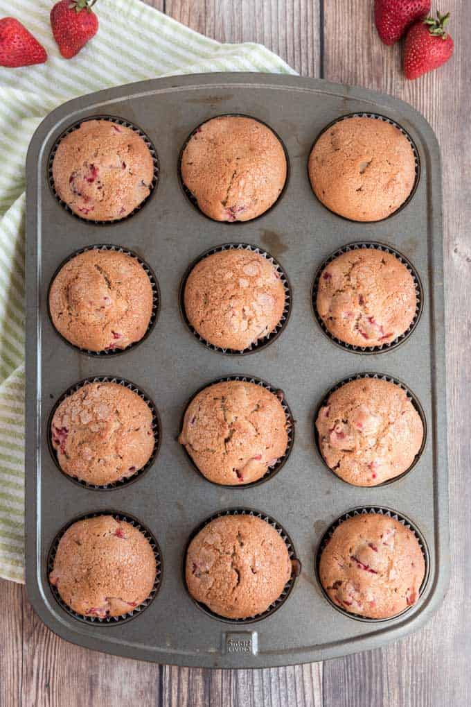 homemade strawberry muffins in muffin pan