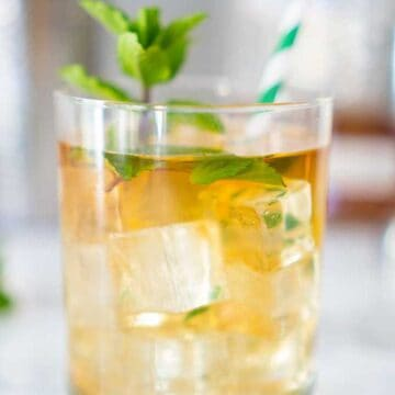 mint julep in low glass