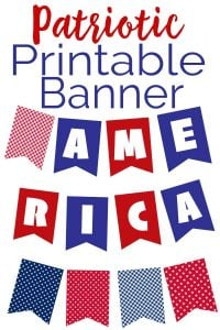 DIY red white and blue patriotic printable banner
