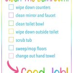 kids bathroom cleaning printable checklist
