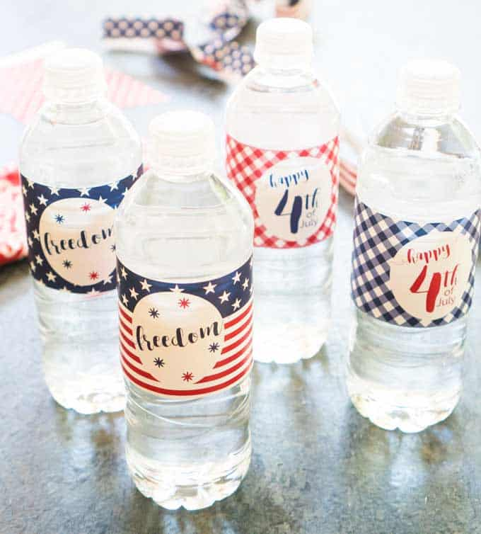 Patriotic Water Bottle Labels Free Usa Printable Party Supplies - Printable-water-bottle-labels