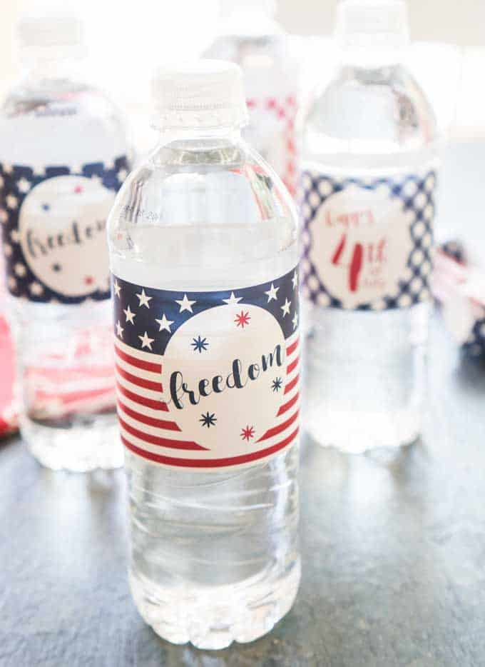 picture relating to Free Printable Water Bottle Labels called Patriotic Drinking water Bottle Labels Cost-free United states Printable Get together