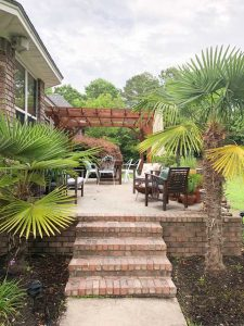 beautiful back yar dwith plants and pergola palm trees fire pit