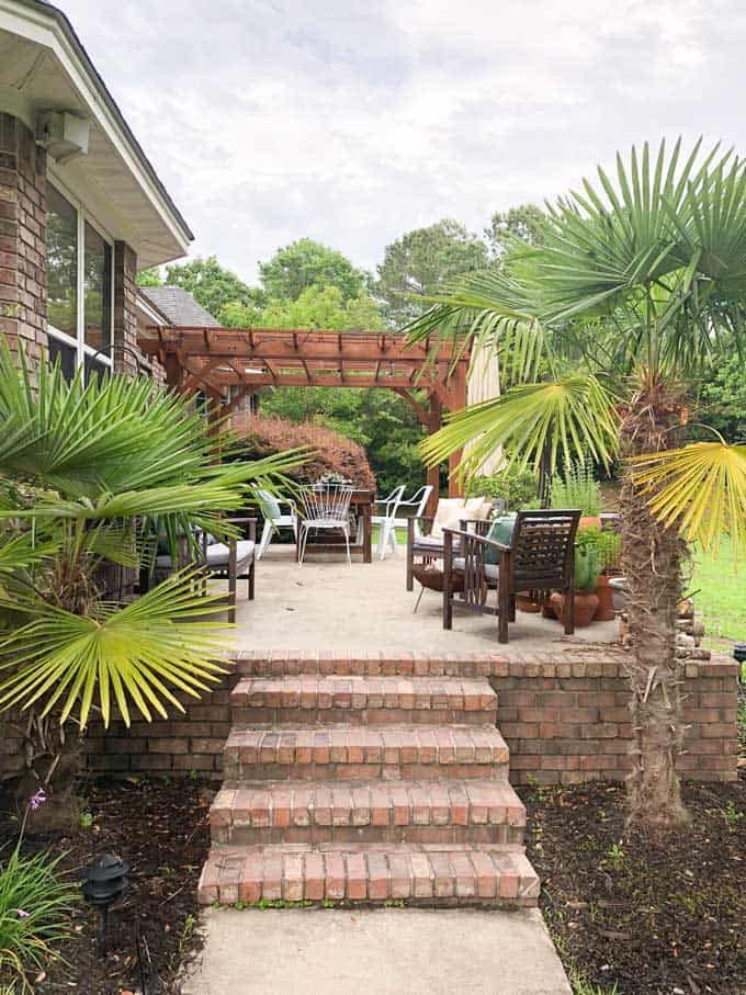 patio with brick trim and palm trees on either side of stairs