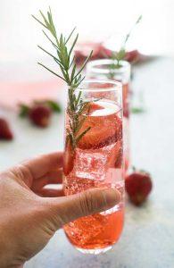 sparkling strawberry rose sangria