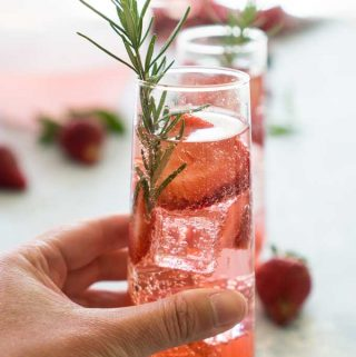 sparkling strawberry rose sangria