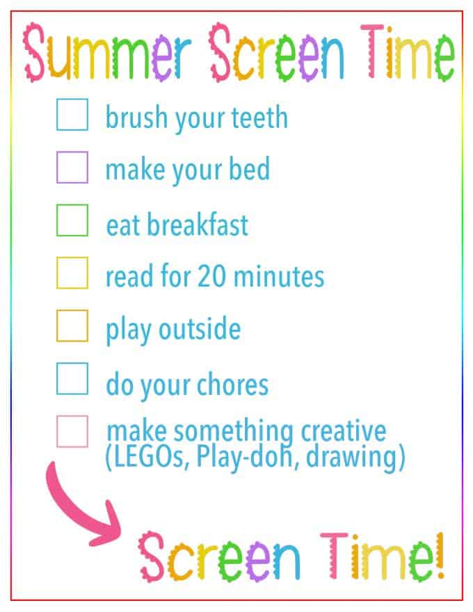 image relating to Screen Time Rules Printable identified as Summer months Show Period Recommendations Listing Absolutely free Printable List