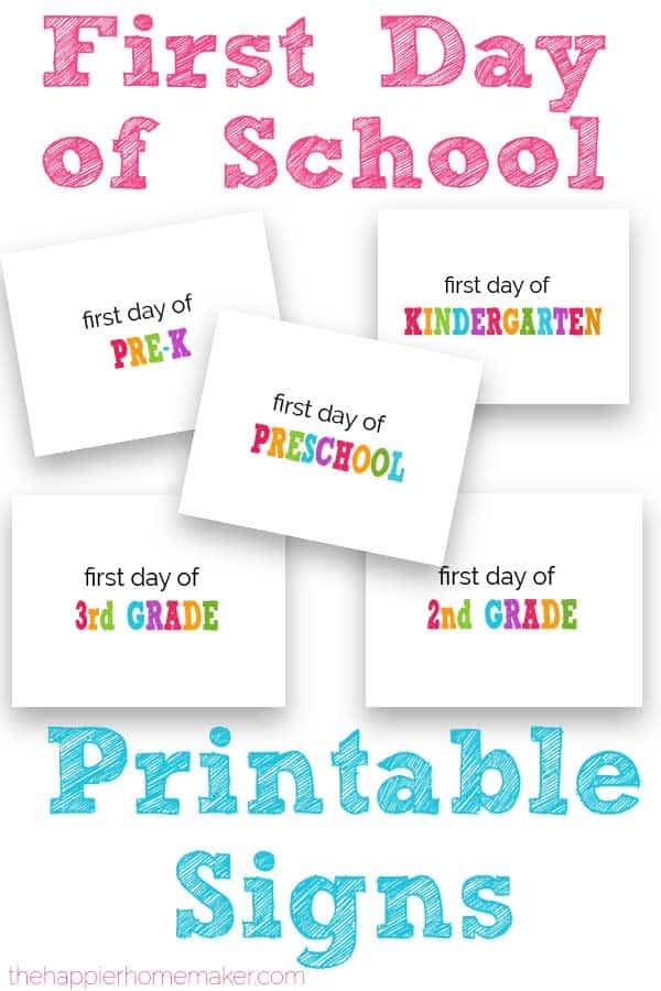 first day of school printable sign with grade