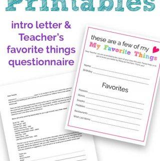 Room Parent Printables | Room Mom Intro Letter & Teacher Questionnaire