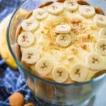 banana pudding trifle with banana slices on top