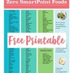 free weight watchers zero smart points printable list