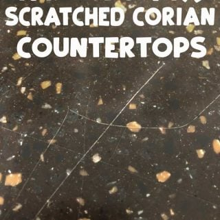 scratched counter with text overlay reading scratched corian counterotps